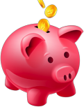 Pink piggy bank with coins falling into slot